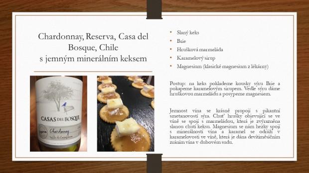 Párování s vínem chardonnay, casa del bosque, keks s brie, hruška, magnesium recept